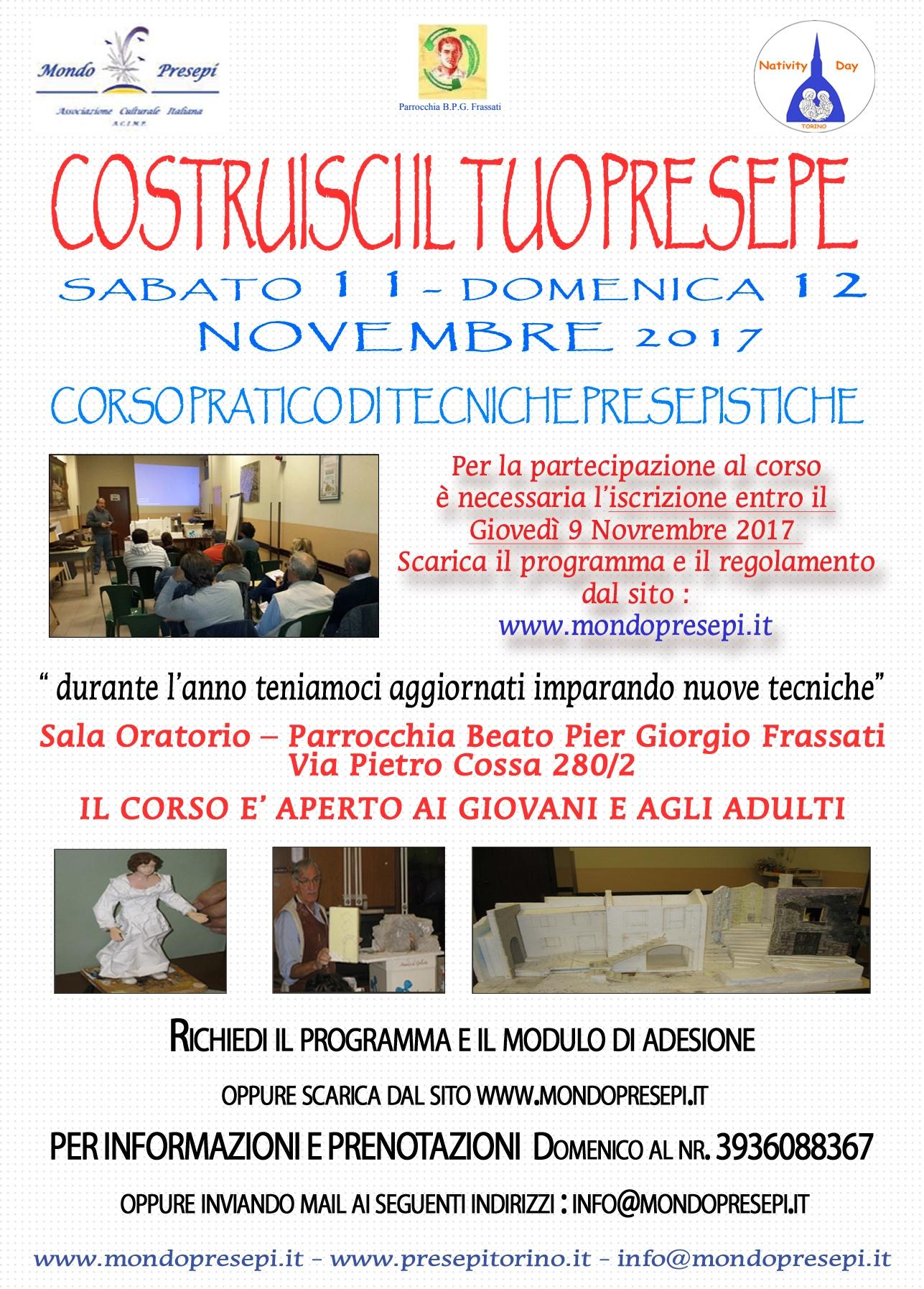 CORSO PRATICO DI TECNICA PRESEPISTICA  TORINO – NOVEMBRE 2017